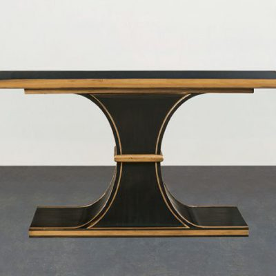 Black Smoke Glass Top Console  Table