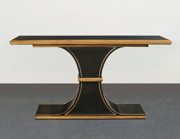 Black Console Table with Smoke Glass Top