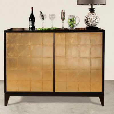Black Gold Leaf Bar Cabinet