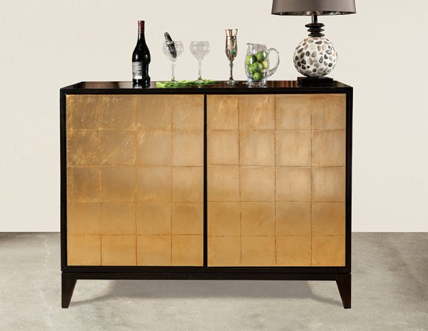 Black with Gold Leaf Bar Cabinet - staged