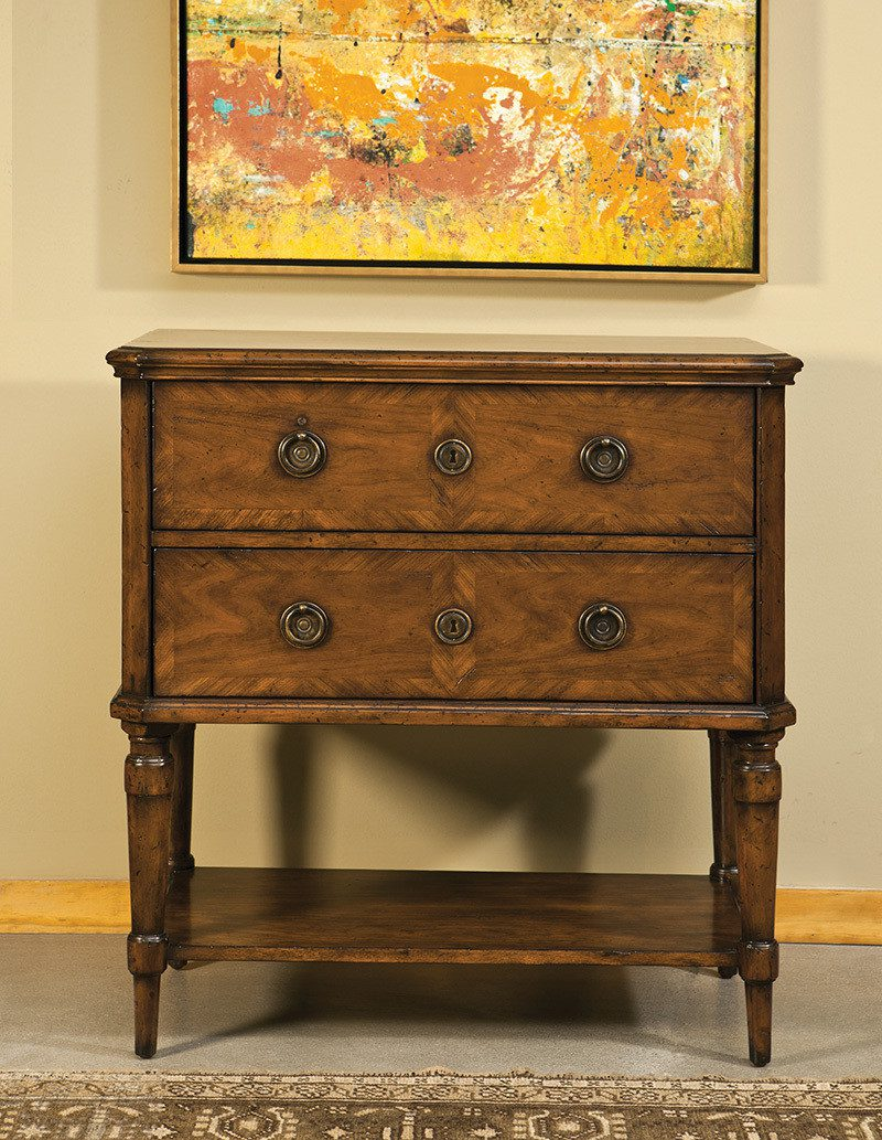 Cherry & Inlay French Table - Staged
