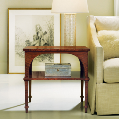 Classical End Table With Shelf – Walnut
