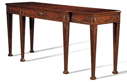 Crotch Mahogany Swag Console Table with center drawer