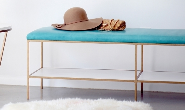 Emerson Bench - Gold finish metal, Teal seat
