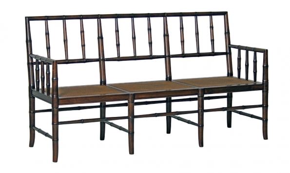 Faux Bamboo Bench with back, Brown