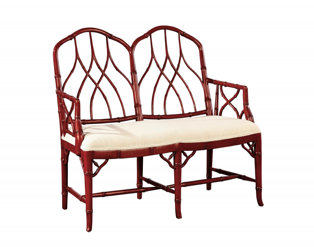 Faux Bamboo Settee in Red