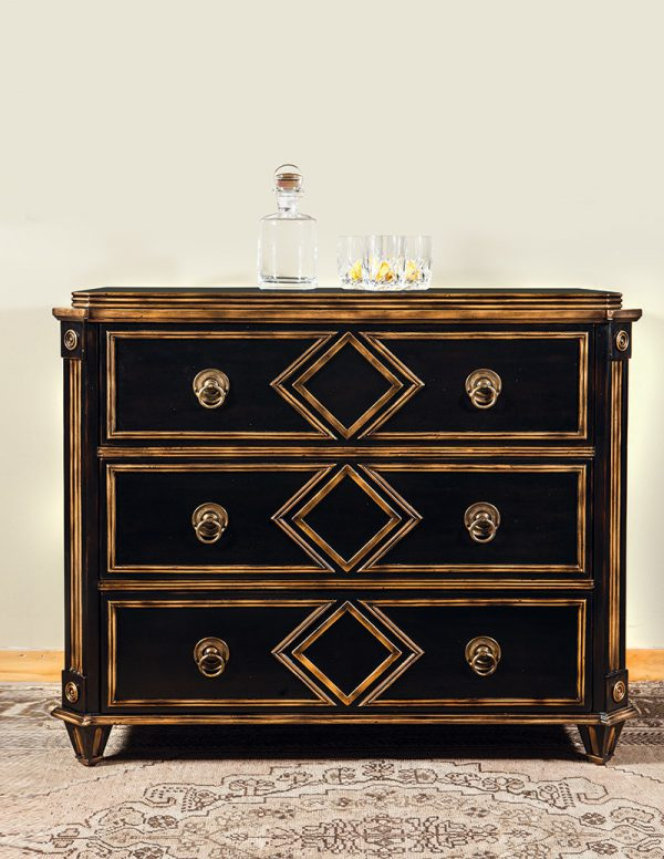 French Chest Black with Gilded Molding