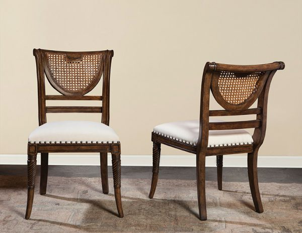 Italian Cane Back Side Chair in French Walnut