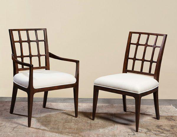 Mahogany Lattice Back Arm Chair