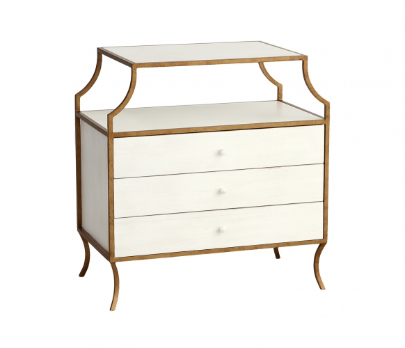 Milla Side Table with Drawers - White