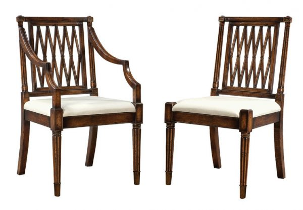 Oak Trellis Back Side Chair