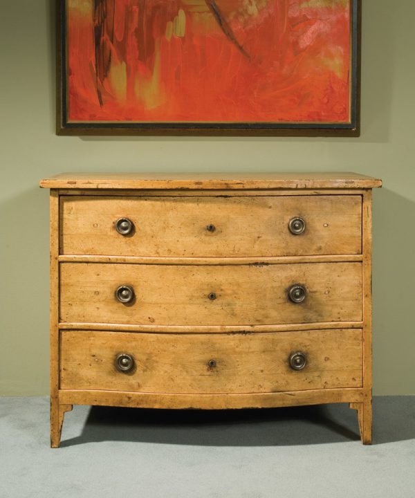 Pine Swedish Serpentine 3 Draw Chest in Olde Timber