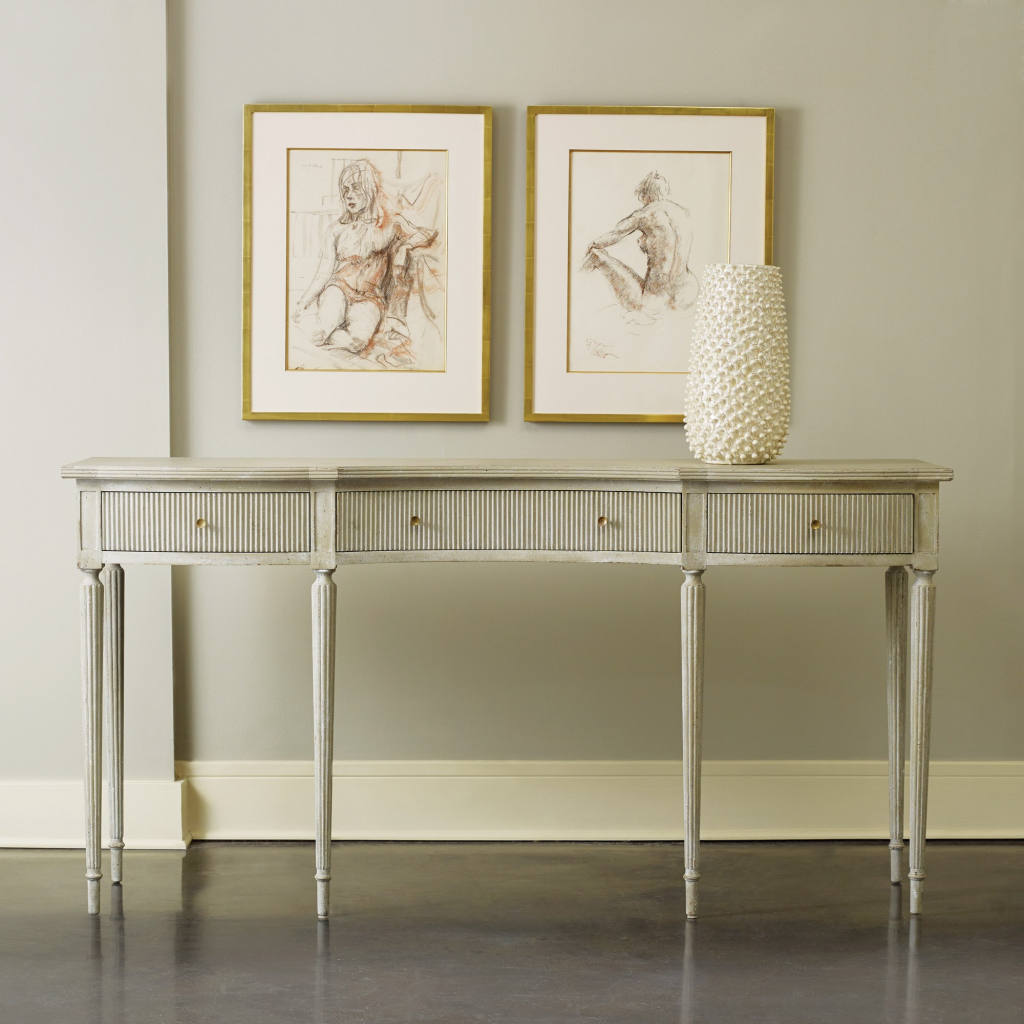 Ribbed Drawer Console - Staged