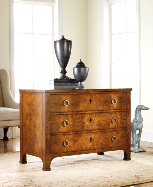 Three Drawer Walnut Commode - Staged