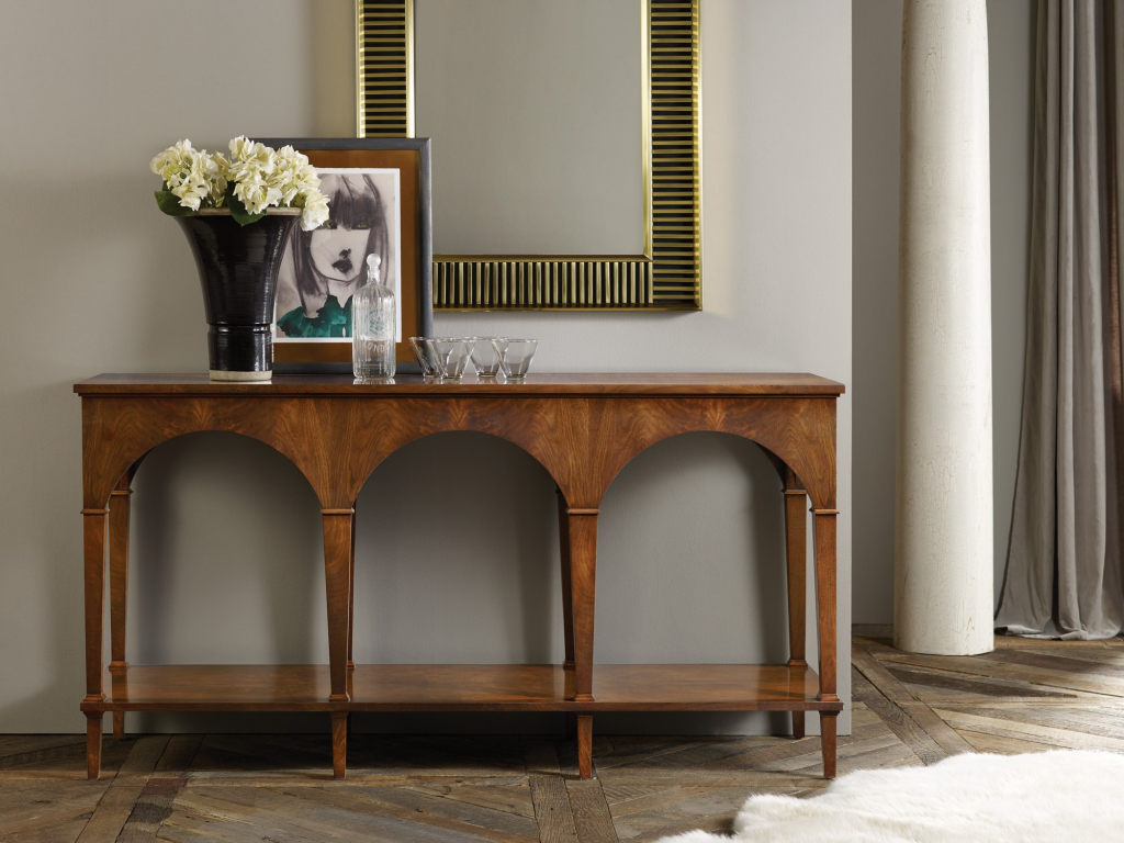 Triple Classical Console With Shelf - Staged
