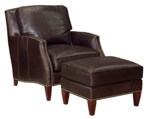 Contemporary Leather Chair and Ottoman