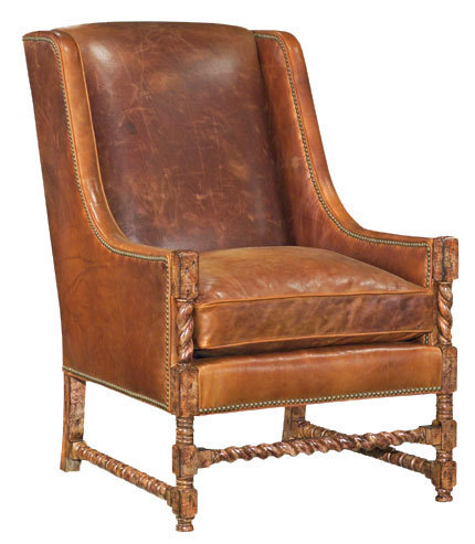 Distressed Leather Twist-Leg Chair