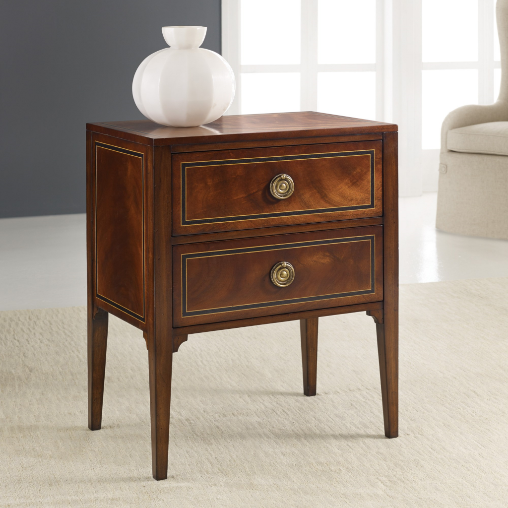 Inlaid Bedside Chest - Staged