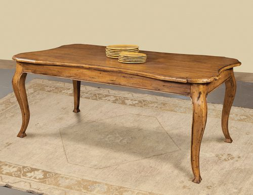 Italian Shaped Dining Table in Olde Pine - Staged