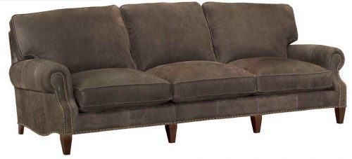 Leather Ruched-Arm Nail-Trimmed Sofa