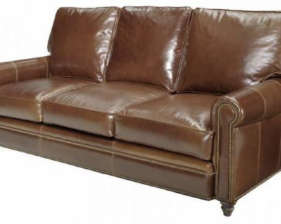 Leather Nail-Trim Sofa