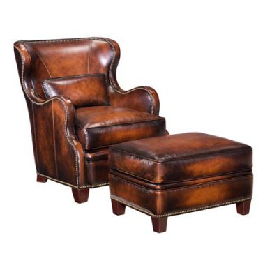 Leather Wing Chair & Ottoman