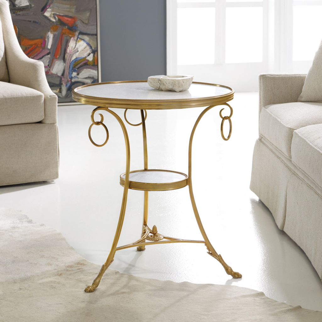 Marble & Brass Gueridon Table - Staged