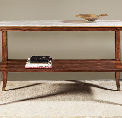 Marble-Top Mahogany French Console