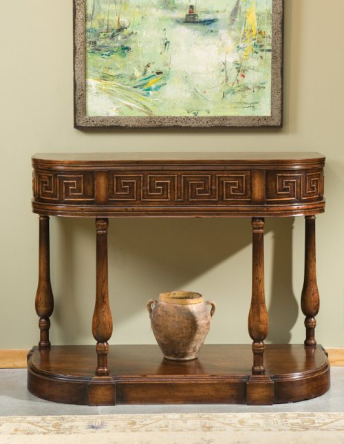 Oak Demilune Console - Staged