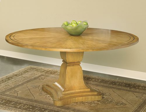 Round Pine Dining Table - Staged