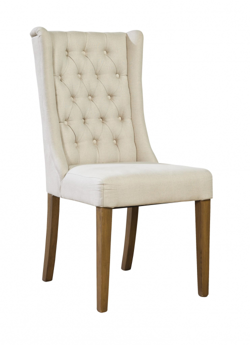 Tufted Linen Side Chair