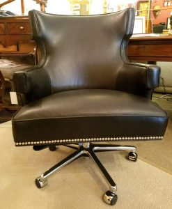 Polished Nickel Nail Trim Desk Chair