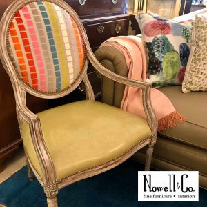 Open Arm Chair with upholstered back
