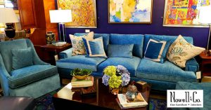 Blue sofa and staged area in the showroom