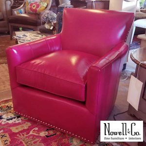 Hot pink leather chair