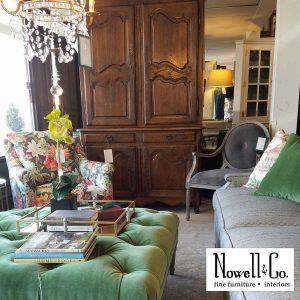 Armoir, ottoman, sofa in the showroom