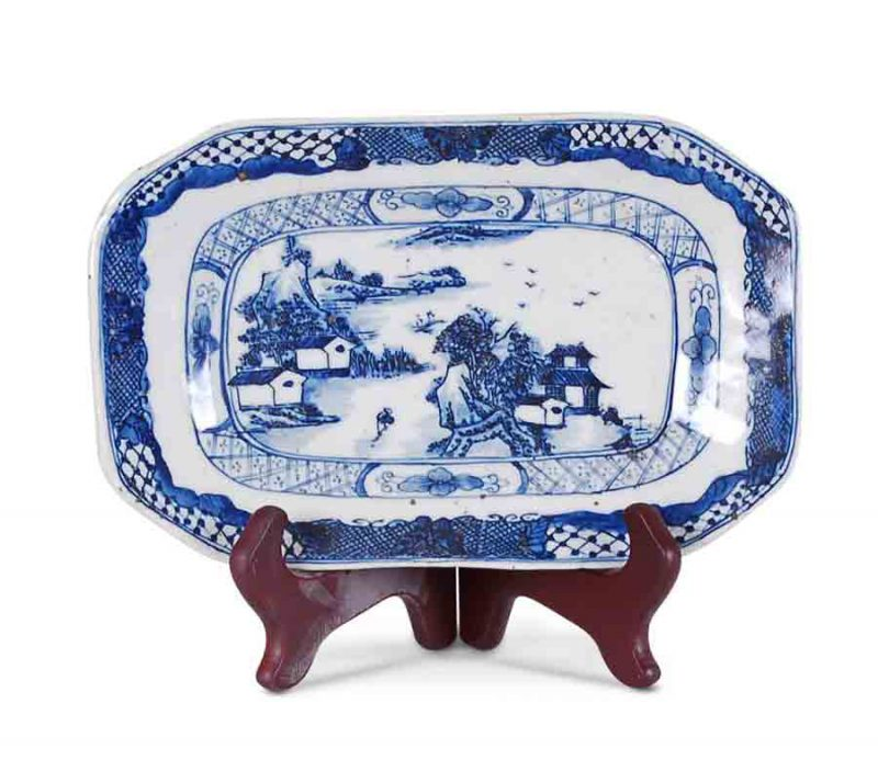 Blue and White Plate with Canton Design