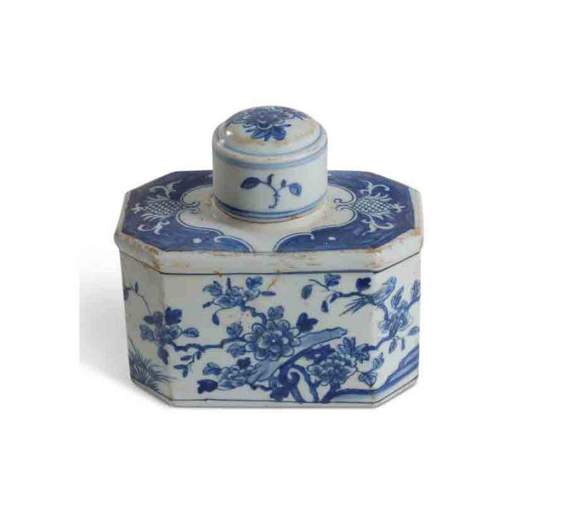 Blue and White Bird and Flower Tea Tin