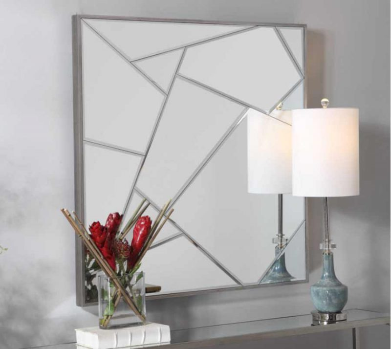Beria Square Mirror - Staged