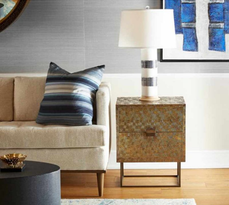 Cubic 2-Drawer Side Table - Staged
