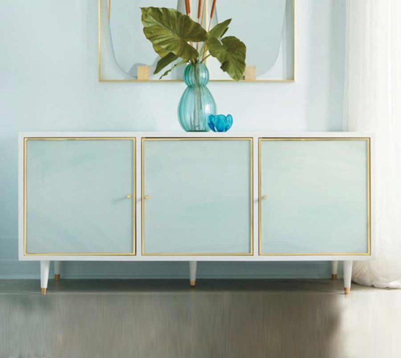 Seaglass Three Door Credenza - Staged