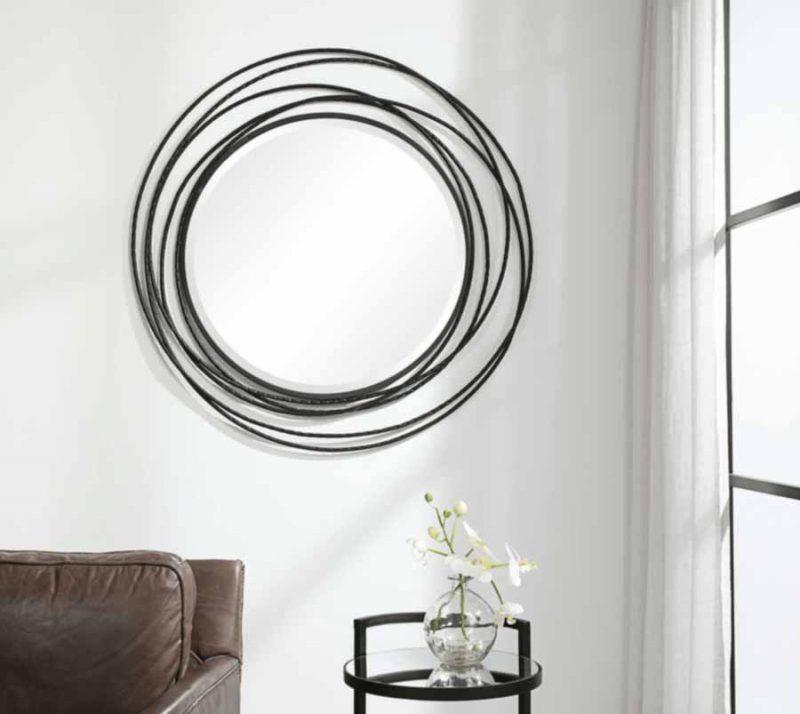 Whirlwind Black Round Mirror - Staged