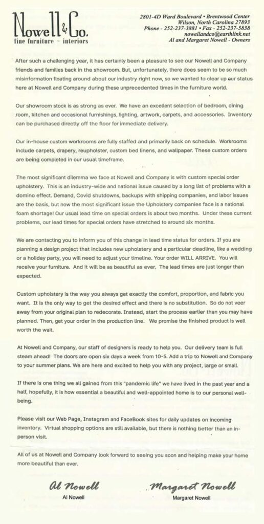 Letter to our customers about the industry delays